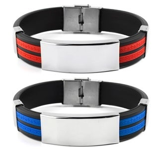 Men's Stainless Steel ID Tribal Design Rubber Bracelet