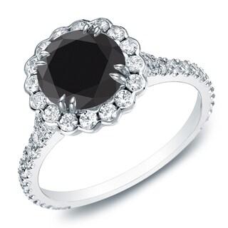 Auriya 14k Gold 1 1/2ct TDW Round Black Diamond Halo Engagement Ring (Black)