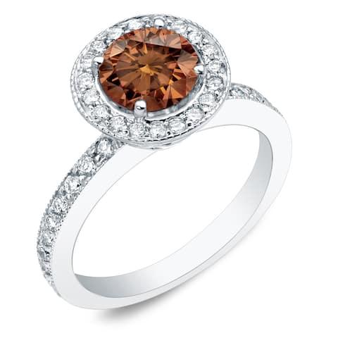 Auriya 14k Gold 1ctw Brown Diamond Halo Engagement Ring