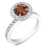 Auriya 14k Gold 1ct TDW Round Brown Halo Diamond Engagement Ring
