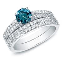 Auriya 14k Gold 1 1/2ct TDW Round Blue Diamond Pave Enagement Ring Set