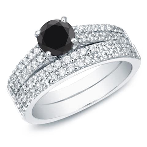Auriya 14k Gold 1 1/2ctw Pave Black Diamond Engagement Ring Set