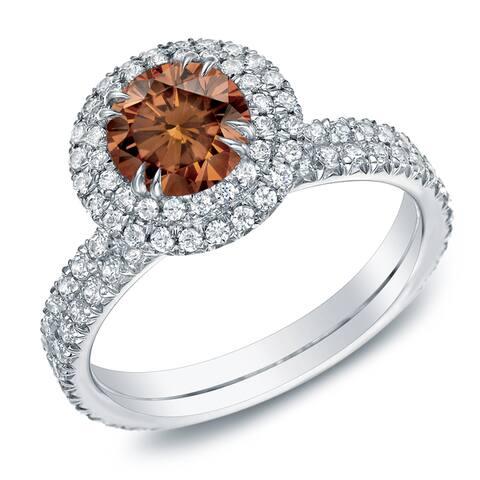 Auriya 1 3/4ctw Halo Brown Diamond Engagement Ring 14k Gold