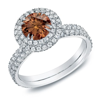 Auriya 14k Gold 1 3/4ct TDW Brown Diamond Halo Engagement Ring (Brown, I-J, SI2-I1)