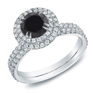 Auriya 1 3 4ctw Double Pave Halo Black Diamond Engagement Ring 14k Gold