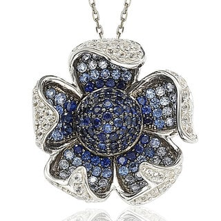 Suzy Levian Sterling Silver and 18K Gold Sapphire and Diamond Pave Flower Pendant with Chain