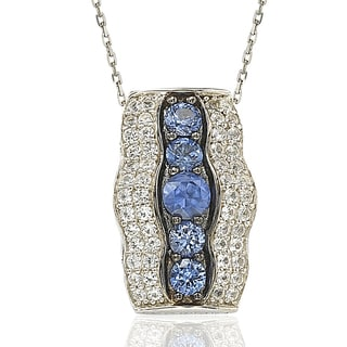 Suzy Levian Sterling Silver and 18K Gold Sapphire and Diamond Pendant