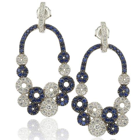 Suzy L. Sterling Silver and 18k Gold Sapphire and Diamond Multi-circle Earrings - Blue