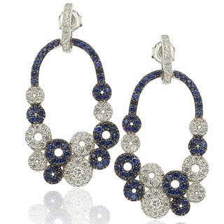 Suzy Levian Sterling Silver and 18K Gold Sapphire and Diamond Multi-Circle Earring in
