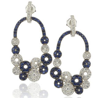 Suzy Levian Sterling Silver and 18k Gold Sapphire and Diamond Multi-circle Earrings|https://ak1.ostkcdn.com/images/products/10383600/P17488404.jpg?impolicy=medium