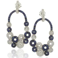 Suzy Levian Sterling Silver and 18k Gold Sapphire and Diamond Multi-circle Earrings