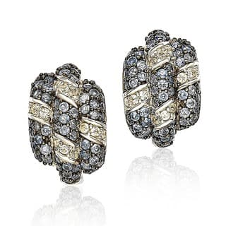 Suzy Levian Sapphire and Diamond in Sterling Silver and 18K Gold Earring https://ak1.ostkcdn.com/images/products/10383602/P17488406.jpg?impolicy=medium
