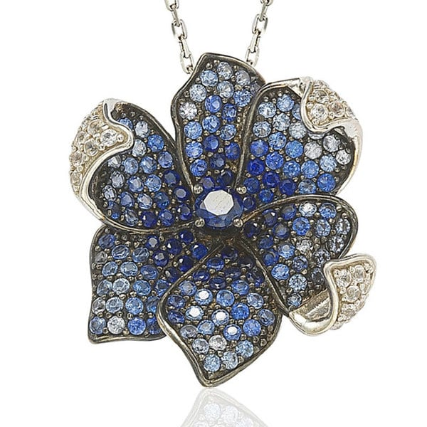 """Suzy Levian Sapphire and Diamond in Sterling Silver and 18K Gold Pendant with 18"""" Chain"""
