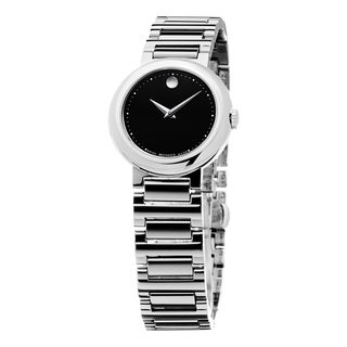 Movado Women's 0606795 'Concerto' Black Dial Stainless Steel Bracelet Swiss Quartz Watch