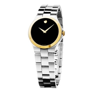 Movado Women's 0606560 'Museum' Black Dial Stainless Steel Two Tone Swiss Quartz Watch