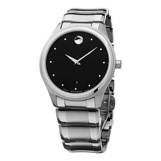 Movado Men's 0606839 'Celo' Black Dial Stainless Steel Bracelet Swiss Quartz Watch