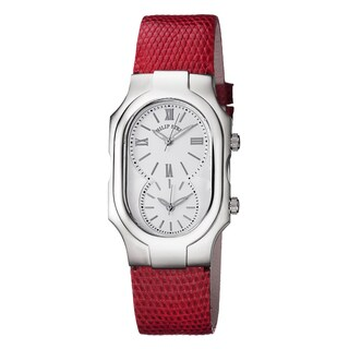 Philip Stein Women's 2-NCW-ZR 'Signature' White Dial Red Leather Strap Swiss Quartz Watch
