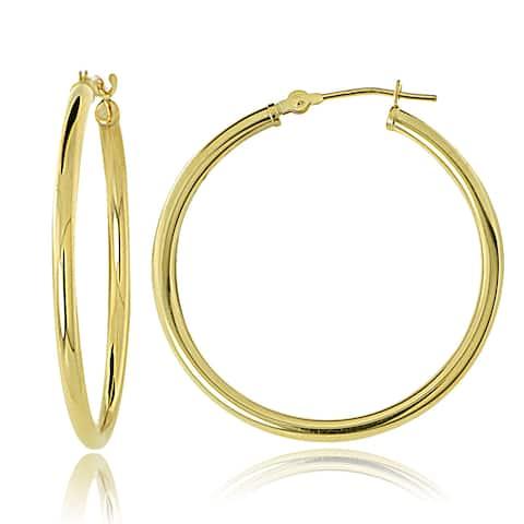 Mondevio 10k Gold 2mm Round Hoop Earrings