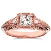 Annello by Kobelli 14k Rose Gold 5/8ct TDW Diamond Antique Filigree Engagement Ring