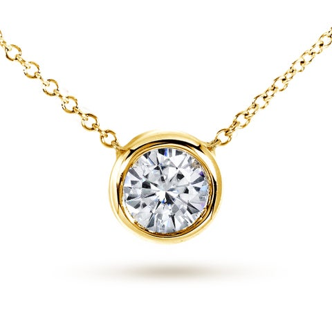 Annello by Kobelli 14k Yellow Gold 1ct Round Moissanite (HI) Solitaire Bezel Necklace