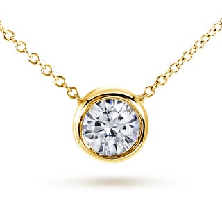 Annello 14k Yellow Gold Round Moissanite Solitaire Bezel Necklace
