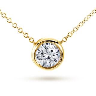Annello by Kobelli 14k Yellow Gold 1ct Round Moissanite (HI) Solitaire Bezel Necklace