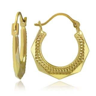 Mondevio 10k Gold Hexagonal Hoop Earrings