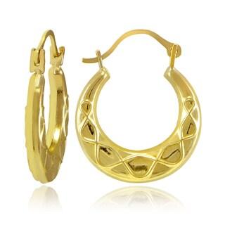 Mondevio 10k Gold Rope Design Hoop Earrings