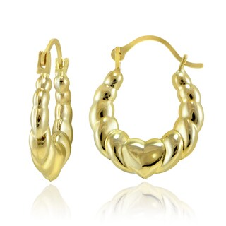 Mondevio 10k Gold Heart Twist Design Hoop Earrings
