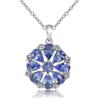 Glitzy Rocks Sterling Silver Tanzanite and White Topaz Flower Necklace