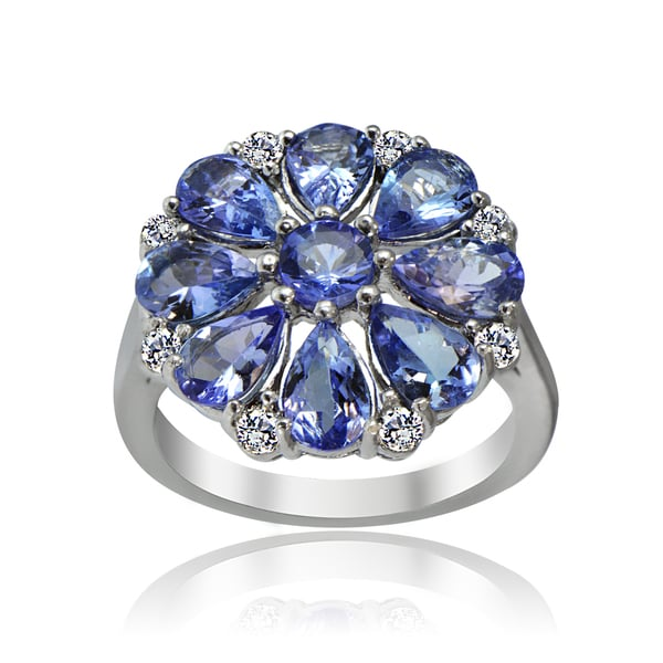 e879d0d71ecf7e Glitzy Rocks Sterling Silver 4 1/4ct TGW Tanzanite and White Topaz Flower  Ring