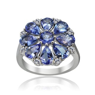Glitzy Rocks Sterling Silver 4 1/4ct TGW Tanzanite and White Topaz Flower Ring