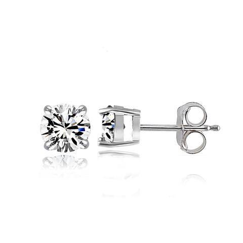 Crystal Ice Sterling Silver Swarovski Elements Small 4mm Round Stud Earrings