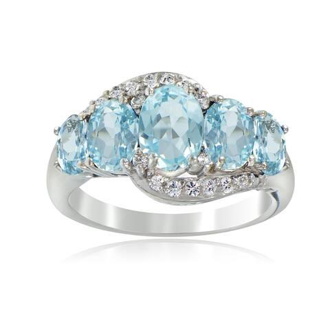 Glitzy Rocks Sterling Silver 2 1/2ct TGW Blue and White Topaz 5-stone Ring