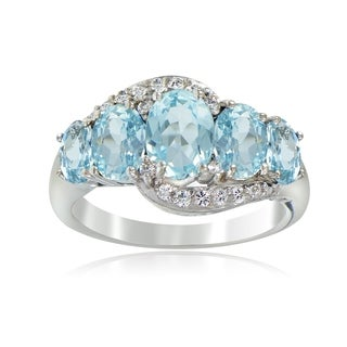 Glitzy Rocks Sterling Silver 2 1/2ct TGW Blue and White Topaz 5-stone Ring