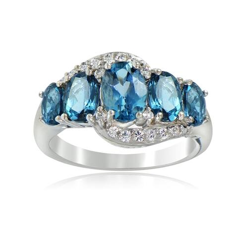 Glitzy Rocks Sterling Silver 2 3/4ct TGW London Blue and White Topaz 5-stone Ring