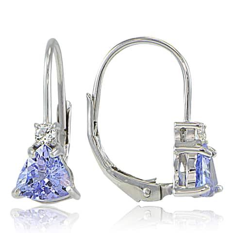 Glitzy Rocks Sterling Silver Tanzanite & White Topaz Trillion-Cut Leverback Drop Earrings - Purple