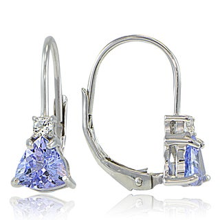 Glitzy Rocks Sterling Silver Tanzanite & White Topaz Trillion-Cut Leverback Drop Earrings