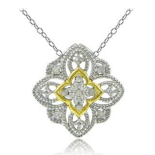 DB Designs Sterling Silver Two-Tone 1/10ct TDW Diamond Filigree Clover Necklace (I-J, I2-I3)