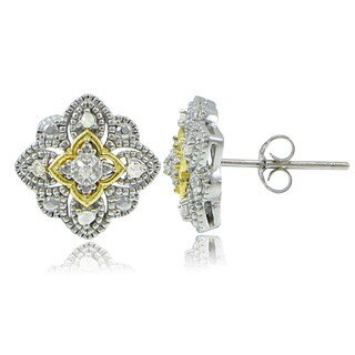 DB Designs Sterling Silver Two-Tone 1/10ct TDW Diamond Filigree Clover Stud Earrings