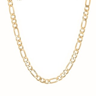 Sterling Essentials Italian 14k Gold over Silver 4 mm Diamond-Cut Figaro Chain (18-30 Inch)