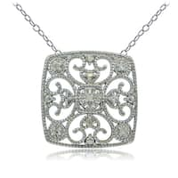 DB Designs Sterling Silver 1/10ct TDW Diamond Filigree Square Necklace