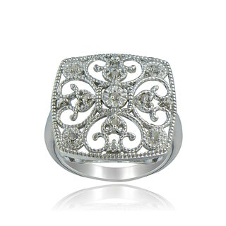 DB Designs Sterling Silver 1/10ct TDW Diamond Square Filigree Ring