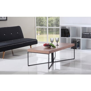 Mixer Light Walnut and Black Steel Coffee Table by B-Modern
