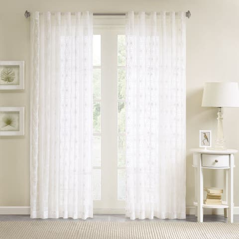 Madison Park Kida Embroidered Sheer Curtain Panel