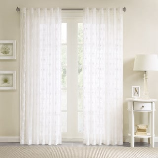 Madison Park Kida White Lightweight Sheer Floral Geo Embroidered Curtain Panel with Rod Pocket and Back Tabs Top Finish