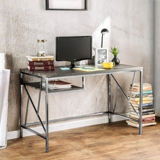 Furniture of America Nara Contemporary Two-Tone Metal Desk