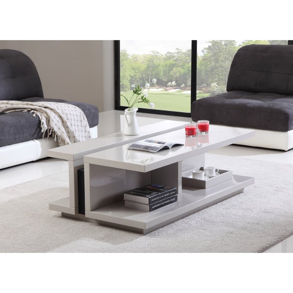 Modern Coffee Table Metal: Shop B-Modern DJ Cream High-Gloss And Black Steel Modern