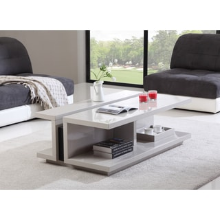 B-Modern DJ Cream High-Gloss and Black Steel Modern Coffee Table