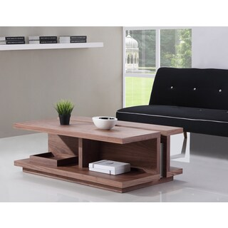 The DJ Light Walnut and Stainless Steel Coffee Table